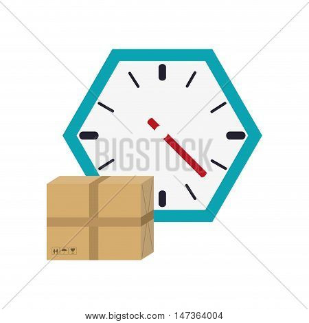 flat design wall clock and box  icon vector illustration