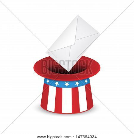 Uncle Sam hat and envelope. Voting in the US presidential election. Vector illustration isolated on white background.