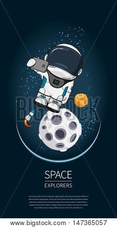 Modern Design Vector Illustration With Astronaut In Space. Universe Exploration And New Technology.