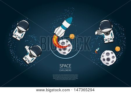 Set of Modern design vector illustration with rocket Launch astronaut planet. universe exploration and new technology. Template for poster
