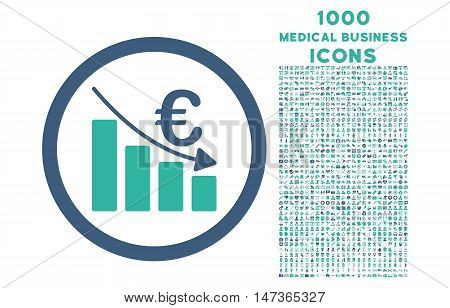 Euro Recession rounded vector bicolor icon with 1000 medical business icons. Set style is flat pictograms, cobalt and cyan colors, white background.