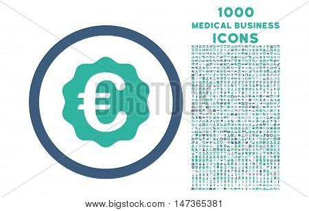 Euro Reward Seal rounded vector bicolor icon with 1000 medical business icons. Set style is flat pictograms, cobalt and cyan colors, white background.