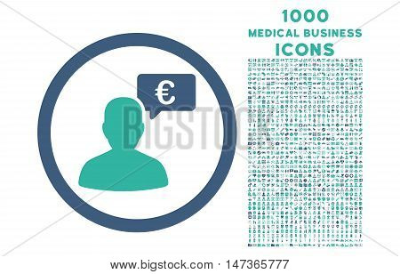 European Person Opinion rounded vector bicolor icon with 1000 medical business icons. Set style is flat pictograms, cobalt and cyan colors, white background.
