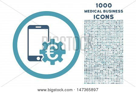 Configure Mobile Euro Bank rounded vector bicolor icon with 1000 medical business icons. Set style is flat pictograms, cyan and blue colors, white background.