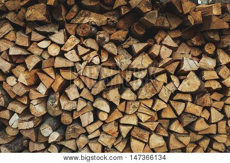 Fire wood stock for winter as background