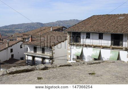 Traditional houses in Candelario a typical mountain village in the province of Salamanca Spain.