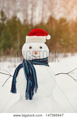funny snowman in a forest. snowman in santa hat outdoors