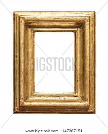 old wooden frame isolated on white background with clipping path