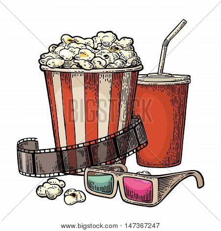 Popcorn, cup for beverages with straw, film strip and 3D color glasses for cinema. Vintage vector engraving illustration. Isolated on white background.