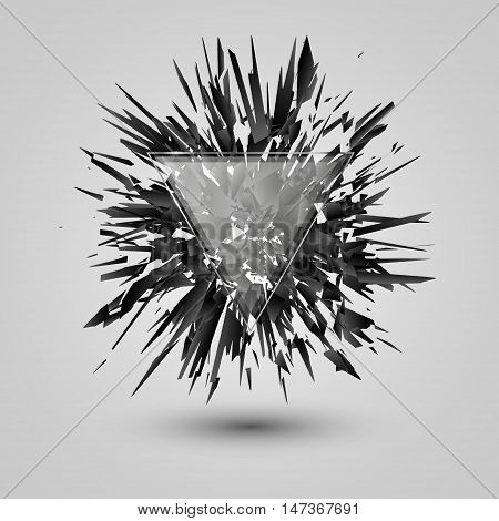 Abstract black explosion, Geometric background with triangle, Vector illustration