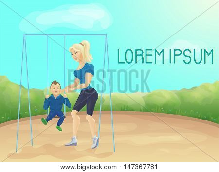 Mother with baby on swing at playground. Summer background with cartoon characters. Poster with mother and son. Baby shop banner. baby shop poster.