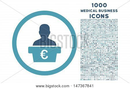 Euro Politician rounded vector bicolor icon with 1000 medical business icons. Set style is flat pictograms, cyan and blue colors, white background.