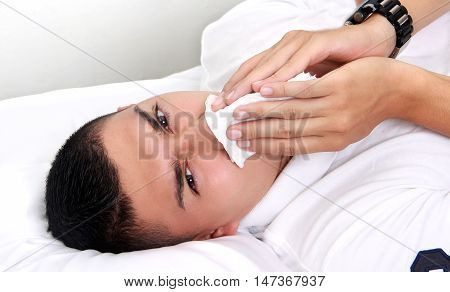 sick man in his room with flu