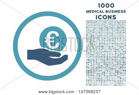 Euro Salary Hand rounded vector bicolor icon with 1000 medical business icons. Set style is flat pictograms, cyan and blue colors, white background.