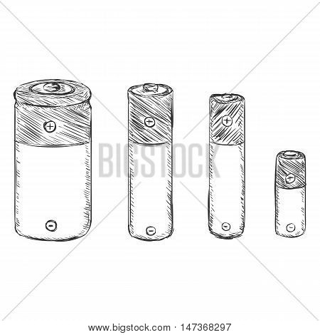 Vector Set Of Sketch Batteries - C, Aa, Aaa, A23.