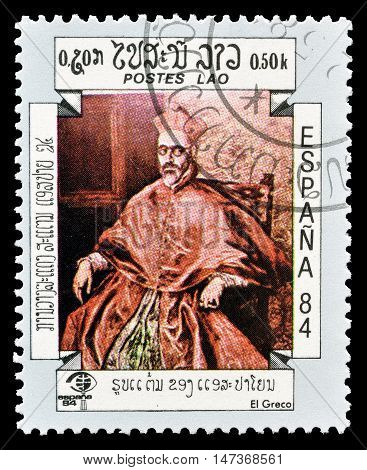 LAOS - CIRCA 1984 : Cancelled postage stamp printed by Laos, that shows painting by El Greco.