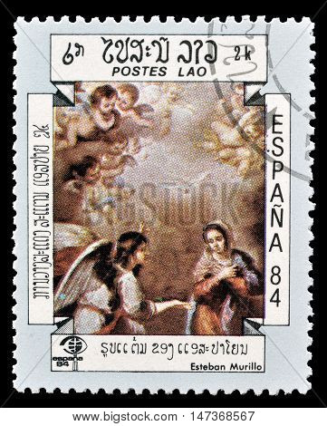 LAOS - CIRCA 1984 : Cancelled postage stamp printed by Laos, that shows painting by Esteban Murillo.