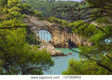 Gargano coast: San Felice arch (Architello), Italy.