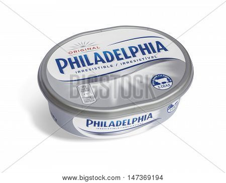 Philadelphia Cream Cheese Product Isolated On White