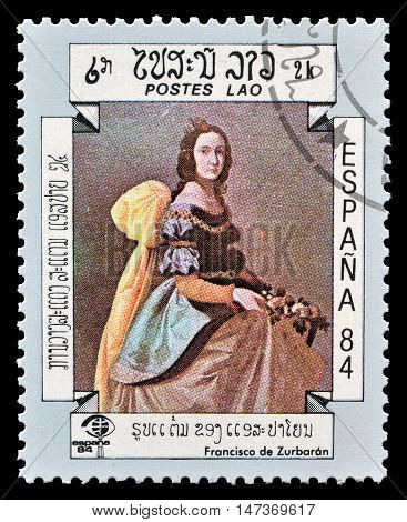 LAOS - CIRCA 1984 : Cancelled postage stamp printed by Laos, that shows painting by Francisco de Zurbaran.