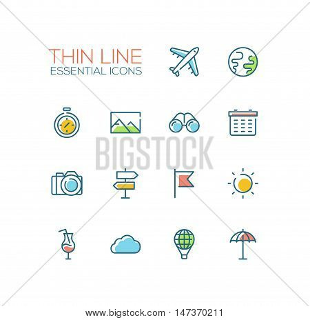 Travel symbols - set of modern vector thick line design icons and pictograms. Plane, globe, watch, picture, binocular, schedule, camera, pointer, flag, sun, cocktail cloud balloon beach umbrella