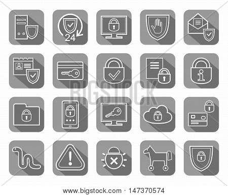 Information protection, contour icons, gray. Information technology, data security system. Vector, white, contour icons on gray background with shadow.