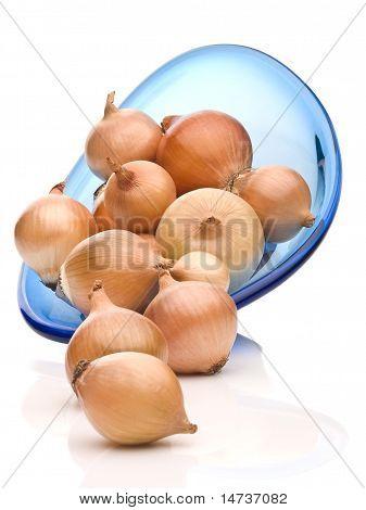 Fresh Bulbs Of Yellow Onion On White Background