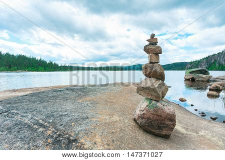 Norwegian landscape with mountain lake and rocks Norway.