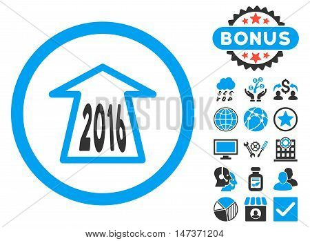 2016 Ahead Arrow icon with bonus design elements. Vector illustration style is flat iconic bicolor symbols blue and gray colors white background.