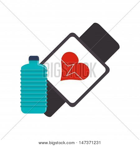 flat design heart rate wrist monitor and sports bottle icon vector illustration