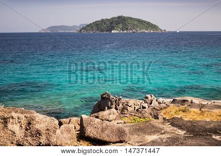 From the island you can see the other Similan island archipelago Thailand