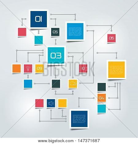 Flow chart info graphic. Color text fields.