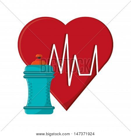 flat design heart cardiogram and sports bottle icon vector illustration