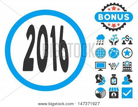 2016 Perspective icon with bonus pictures. Vector illustration style is flat iconic bicolor symbols blue and gray colors white background.