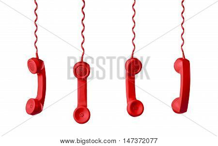 Red Telephone Receiver isolated on a white background