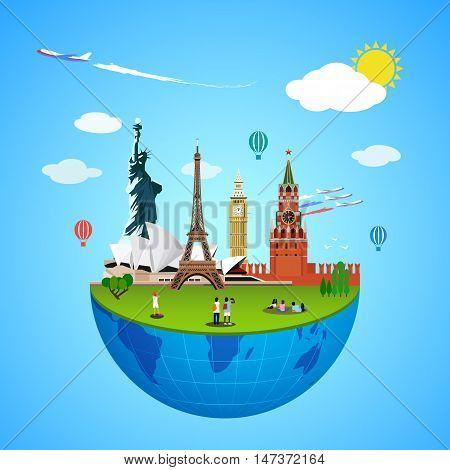 World landmarks concept. Vector illustration for travel design. Famous country symbol icon. Tourism city place culture architecture. USA, Russia, London, Paris, Australia. Cartoon trip tour monument.