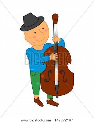 Cartoon musician kid. Vector illustration for children music. Boy isolated on white background. Cute school musical student clip art. Cellist with cello instrument