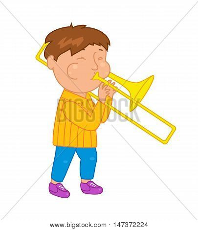 Cartoon musician kid. Vector illustration for children music. Boy isolated on white background. Cute school musical student clip art. Trumpeter with trumpet instrument