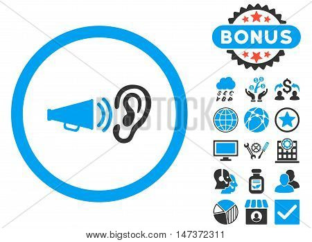 Advertisement icon with bonus symbols. Vector illustration style is flat iconic bicolor symbols blue and gray colors white background.