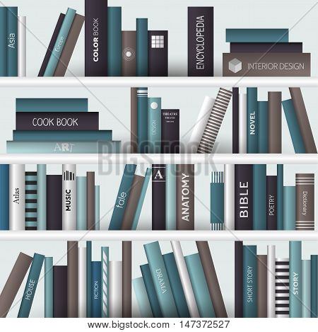 Book shelf. Realistic vector illustration. Bookstore indoor.
