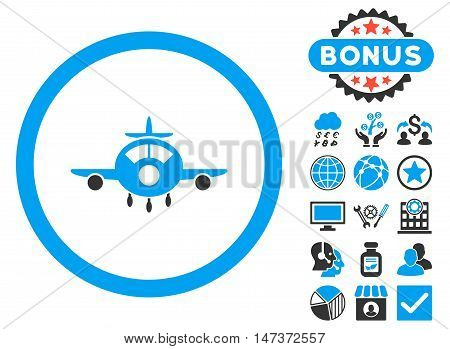 Aircraft icon with bonus elements. Vector illustration style is flat iconic bicolor symbols blue and gray colors white background.