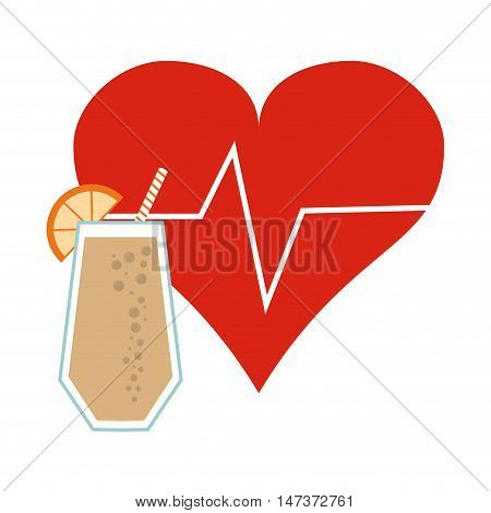 flat design heart cardiogram and  juice icon vector illustration