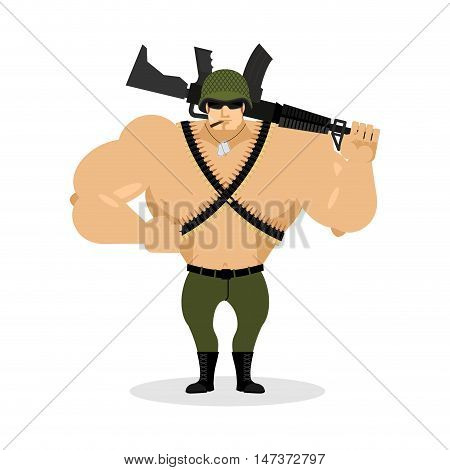 Soldier With Rifle. Special Forces With Gun. Warrior And Machine-gun Tape. Army Style. Soldiers Badg