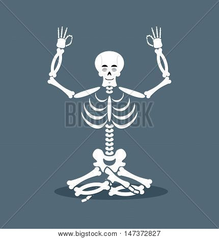 Skeleton Meditating. Dead Yoga. Status Of Nirvana And Enlightenment. Lotus Pose