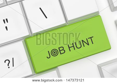 Computer Keyboard With The Words Job Hunt On A Green Key As A Hot Button 3d illustration