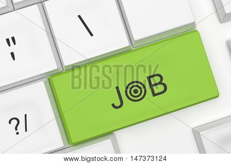 Computer Keyboard With The Word Job On A Green Key As A Hot Button 3d illustration
