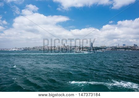 ISTANBUL TURKEY - JUNE 25 2015: Panoramic view of Bosphorus which separates Asian Turkey from European Turkey in Istanbul