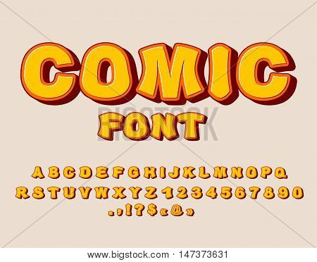 Comic Font. Bang  Alphabet. Bright Cartoon Abc. Yellow Letters