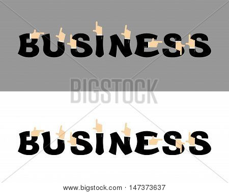 Business Typography. Pointing Hand Alphabet. Businessman Hand Abc. Letters In Business Suit. Finger
