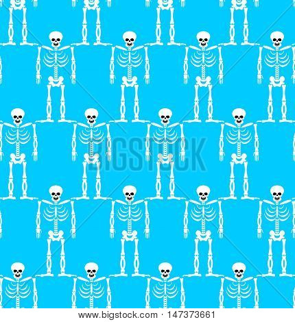 Skeleton Seamless Pattern. Bones And Skull Ornament. Ornament Of Dead. Happy Skeletons Texture. Hall